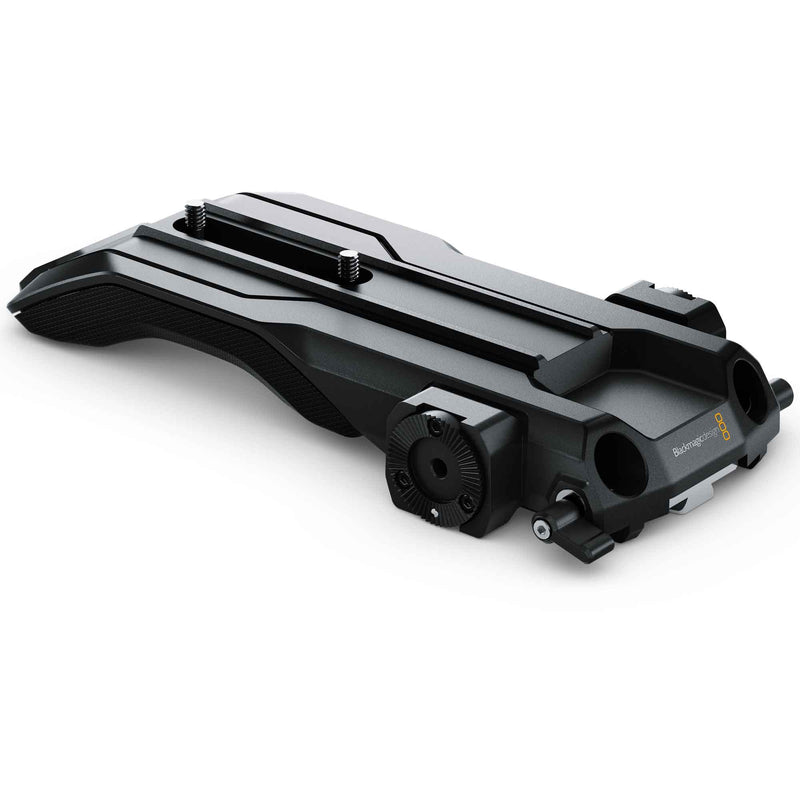 Blackmagic Design URSA Mini Shoulder Mount Kit; baseplate with VCT compatible quick-release and 15mm rod clamps.