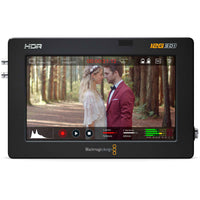 "Blackmagic Design Video Assist 5"" 12G HDR; onscreen controls with histogram, record time, audio levels, record and playback transport controls."