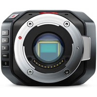 "Blackmagic Design Micro Cinema Camera with Micro Four Thirds active lens mount and 4/3"" image sensor."