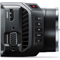 Blackmagic Design Micro Cinema Camera; HDMI and expansion port connections and record, play, skip forward, skip back, menu and power buttons.