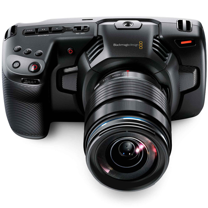 Blackmagic Design Pocket Cinema Camera 4K with Olympus 12-40mm F2.8 Micro Four Thirds zoom lens, built-in microphones and record, ISO, shutter, white balance and function buttons.