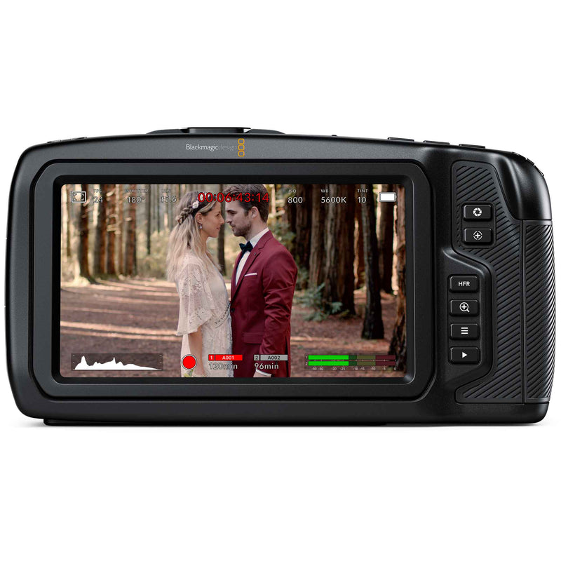 "Blackmagic Design Pocket Cinema Camera 6K; 5"" touch screen monitor with histogram, record time and audio levels."