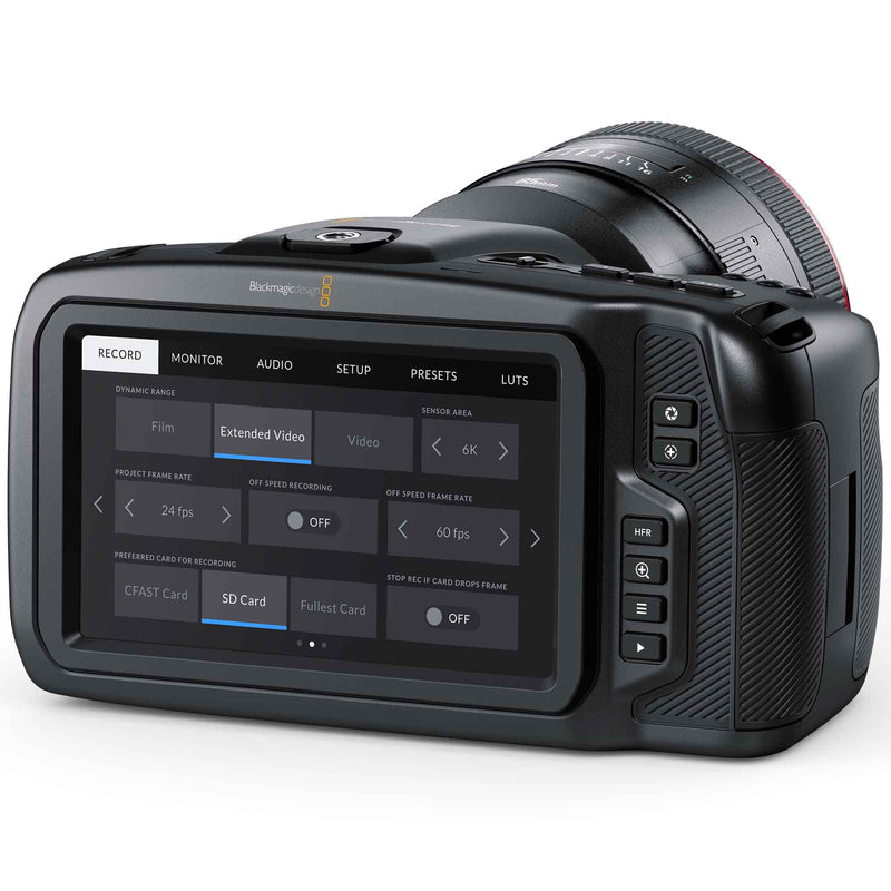 "Blackmagic Design Pocket Cinema Camera 6K; 5"" touch screen monitor with record menu settings."