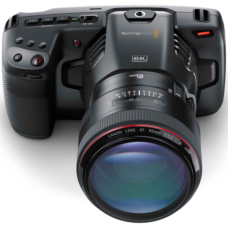 Blackmagic Design Pocket Cinema Camera 6K with Canon 85mm F1.2 EF prime lens.