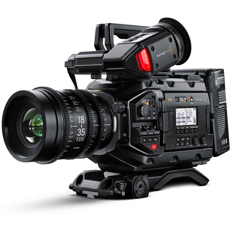 Blackmagic Design URSA Mini Pro 4.6K G2 with Sigma 18-35mm T2.0 EF lens, viewfinder and shoulder mount.