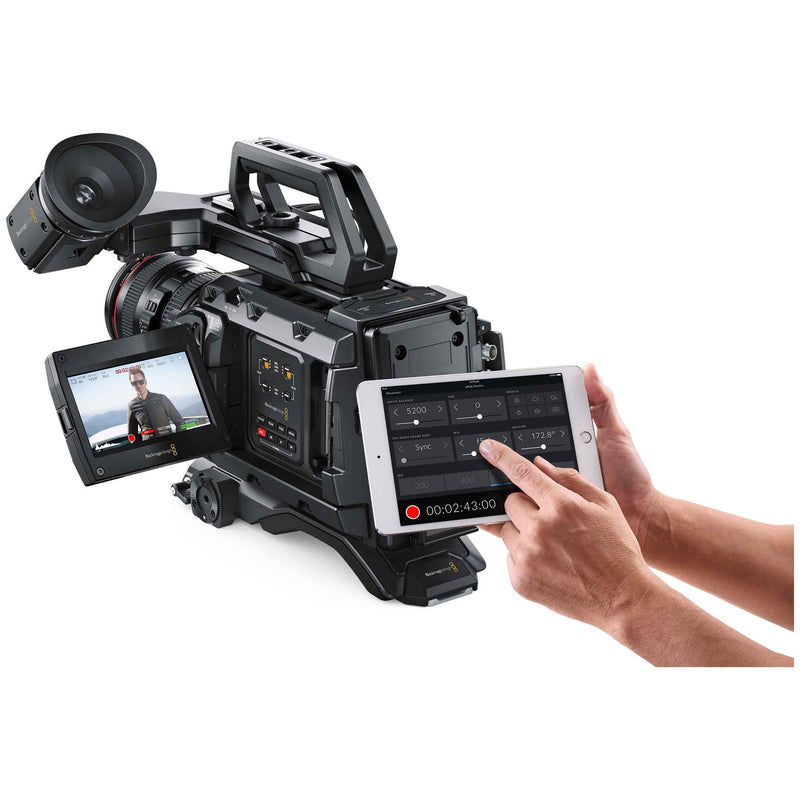Blackmagic Design URSA Mini Pro 4.6K G2 controlled by iPad mini via Bluetooth connection.