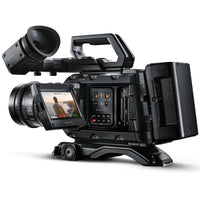 "Blackmagic Design URSA Mini Pro 4.6K G2 with EF lens, fold out 4"" LCD touch screen and gold mount battery plate."