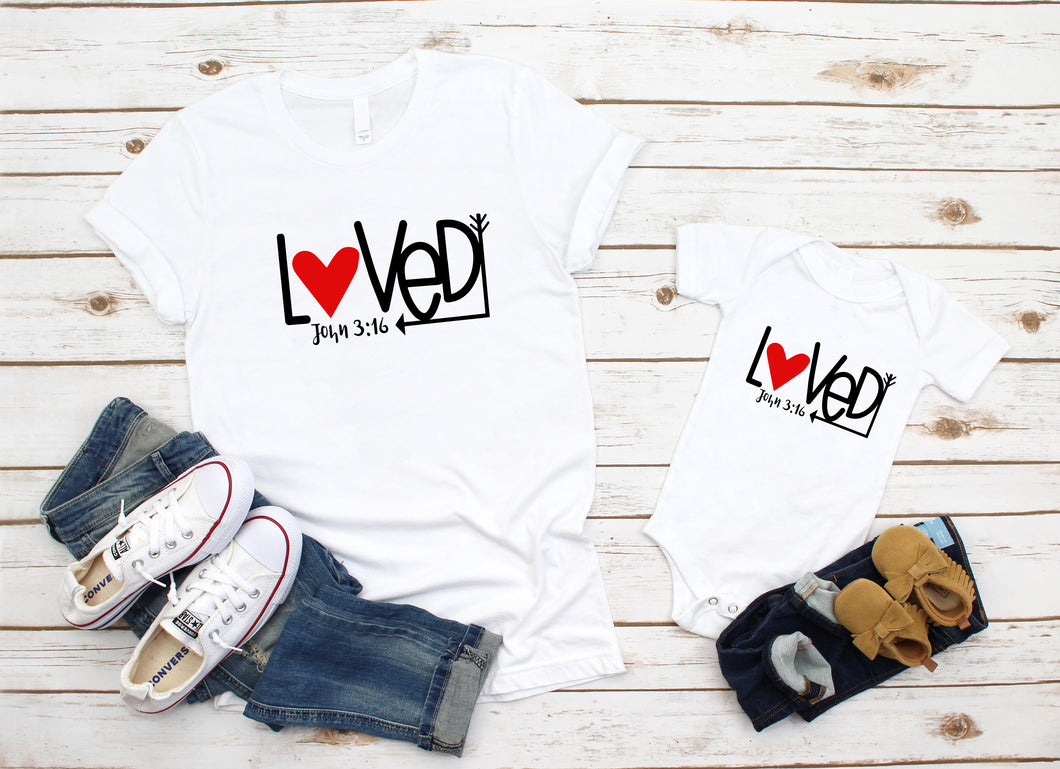 Loved John 3:16 matching bodysuit and tee