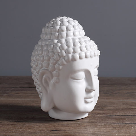 Image of Buddha Head Statue in White Ceramic & Enamel - divinespiritshop