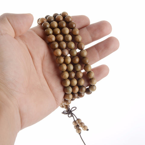 Image of Natural Sandalwood Tibetan Buddhist Prayer Mala - divinespiritshop