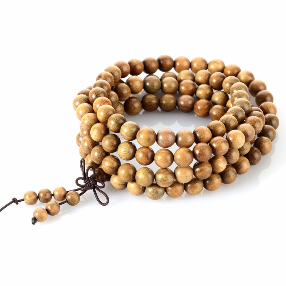 Natural Sandalwood Tibetan Buddhist Prayer Mala - divinespiritshop