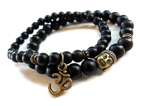 Image of Natural Matte Black Onyx Om Bracelet Set - divinespiritshop