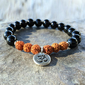 Natural Black Onyx and Rudrashka Om Bracelet - divinespiritshop