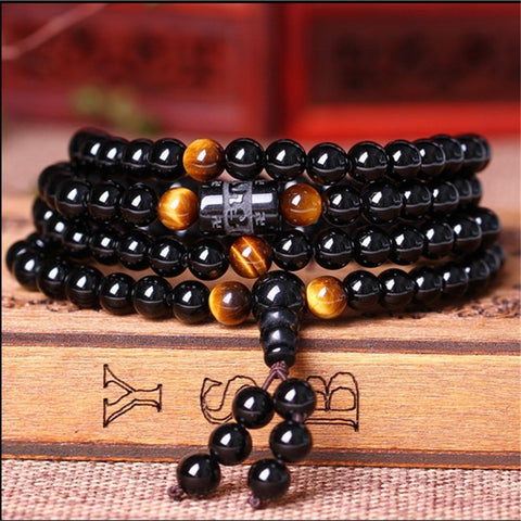 Image of Natural Obsidian Tiger Eye Handmade Mala - divinespiritshop
