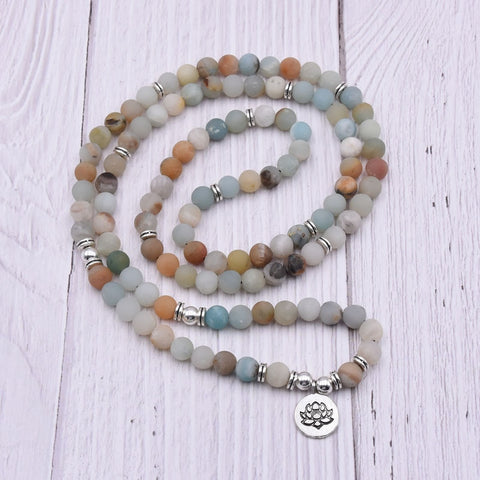 Image of 108 Natural Matte Amazonite Gemstone Mala - divinespiritshop