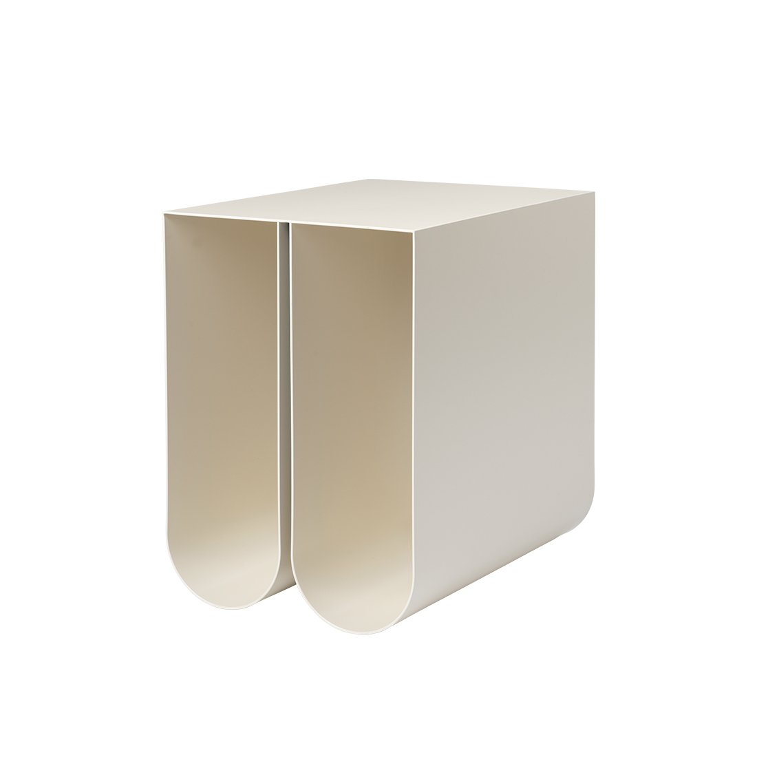 Kristina dam studio curved side table beige sidebord magasin holder