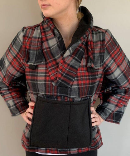 Red/Black Plaid Fleece Bed Jacket