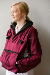 Burgundy Fleece Bed Jacket