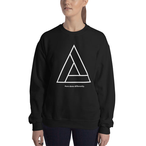 "Model Time Triangle Logo ""Porn done differently"" - Unisex Sweatshirt"