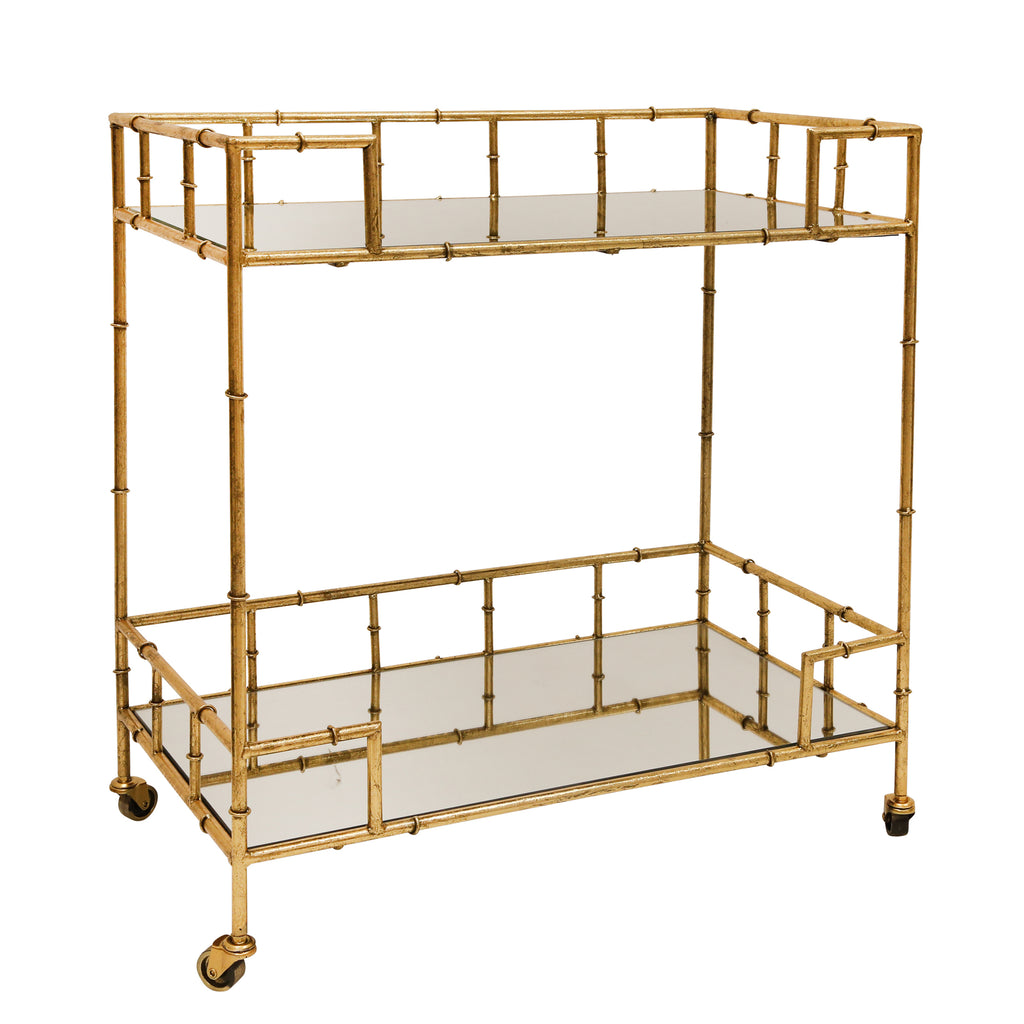 Mirrored Top 2-Tier Gold Metal Bar Cart, 2-TIER GOLD METAL BAR CART, MIRRORED TOP, Sagebrook Home, faux bamboo, Dashing Trappings