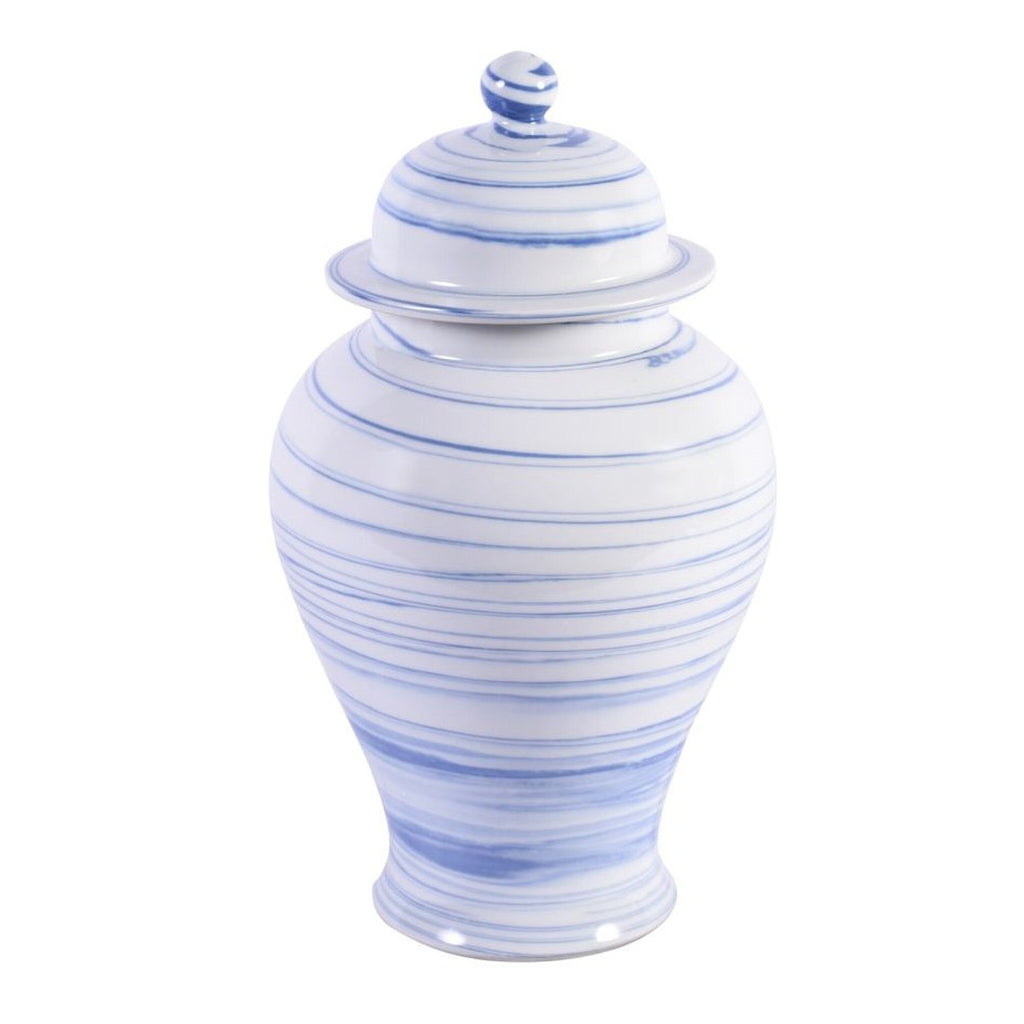 Blue & White Marbleized Porcelain Temple Jar, Legends of Asia, Dashing Trappings, ginger jar