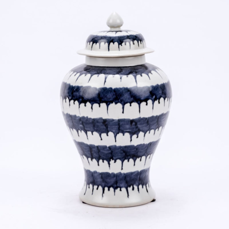 Blue & White Drip Temple Porcelain Jar - Dashing Trappings