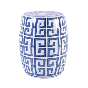 Blue and White Greek Key Porcelain Garden Stool - Dashing Trappings