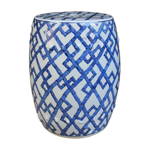 Blue and White Bamboo Joints Porcelain Garden Stool - Dashing Trappings