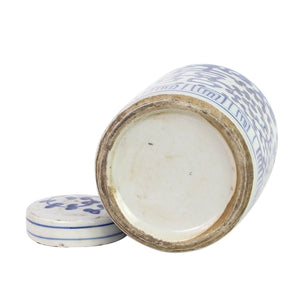 Blue And White Mini Tea Jar Double Happiness, Legends of Asia, ginger jar, Dashing Trappings