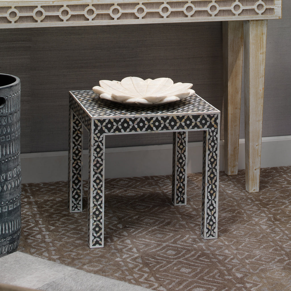 Evelyn Inlay Side Table, bone, black, Jamie Young, Dashing Trappings