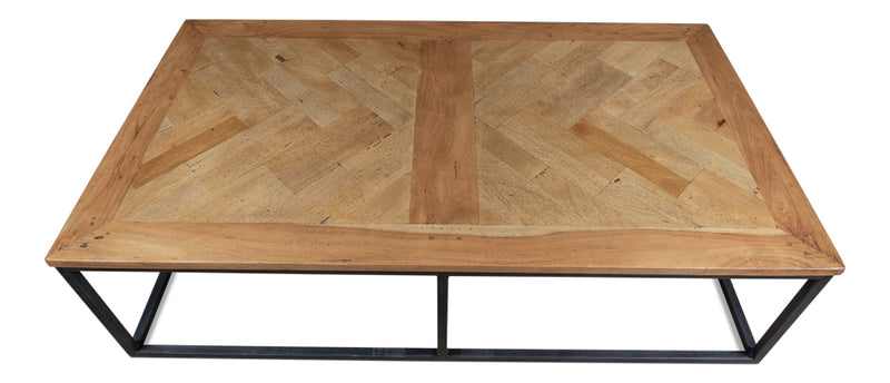 Cascade Cocktail Table, Driftwood Finish, Sarreid, Old Recycle Wood, Parquet Top, Iron , coffee table, Dashing Trappings