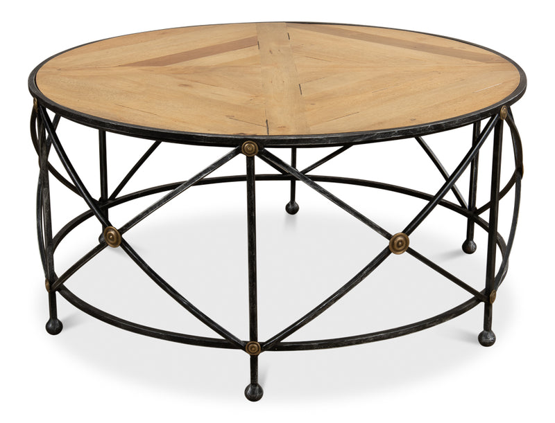 Drum & Fife Coffee Table, Sarreid, Iron, wood, Dashing Trappings