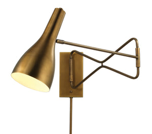 Lenz Swing Arm Wall Sconce, Brass, Mid-Century, Jamie Young, Dashing Trappings