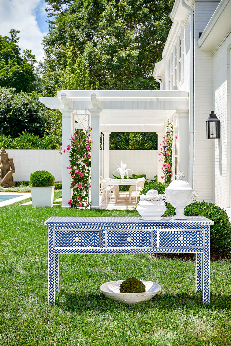 New London Console - Blue, Chelsea House, Dashing Trappings, bone in laid