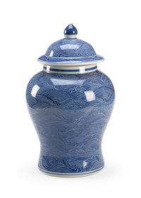 Ocean Ginger Jar, Chelsea House, Blue, White, Wave, Dashing Trappings