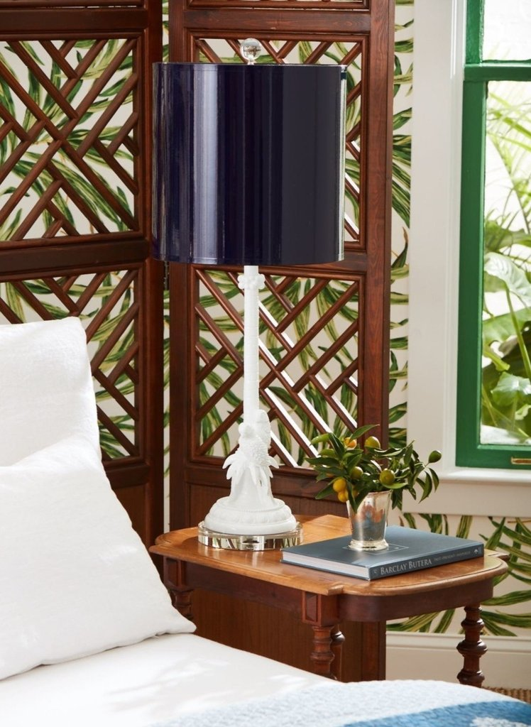 Parrot Palm Table Lamp, Indigo, Couture Lamps