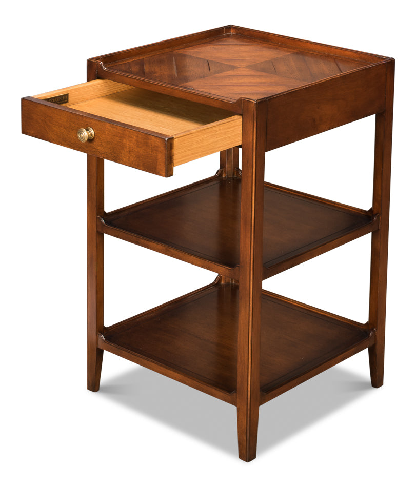Triple Shelf Occasional Table, Sarreid, wood, side table, Dashing Trappings