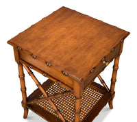 Far East Lamp Table, Sarreid, Cane, Faux Bamboo, wood, Dashing Trappings