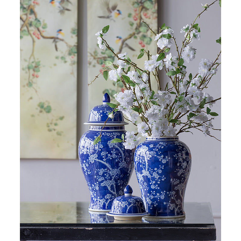 Cherry Blossoms Ginger Jar, A & B Home, Blue, White, Dashing Trappings