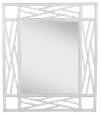 Chippendale Mirror, David Francis Furniture, Rattan, White, Navy, Carolina Blue, Dashing Trappings