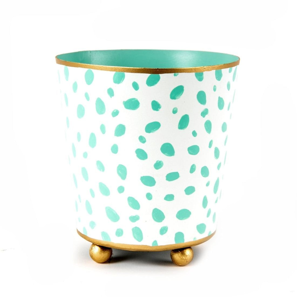 Spot On Aqua & White Round Cachepot
