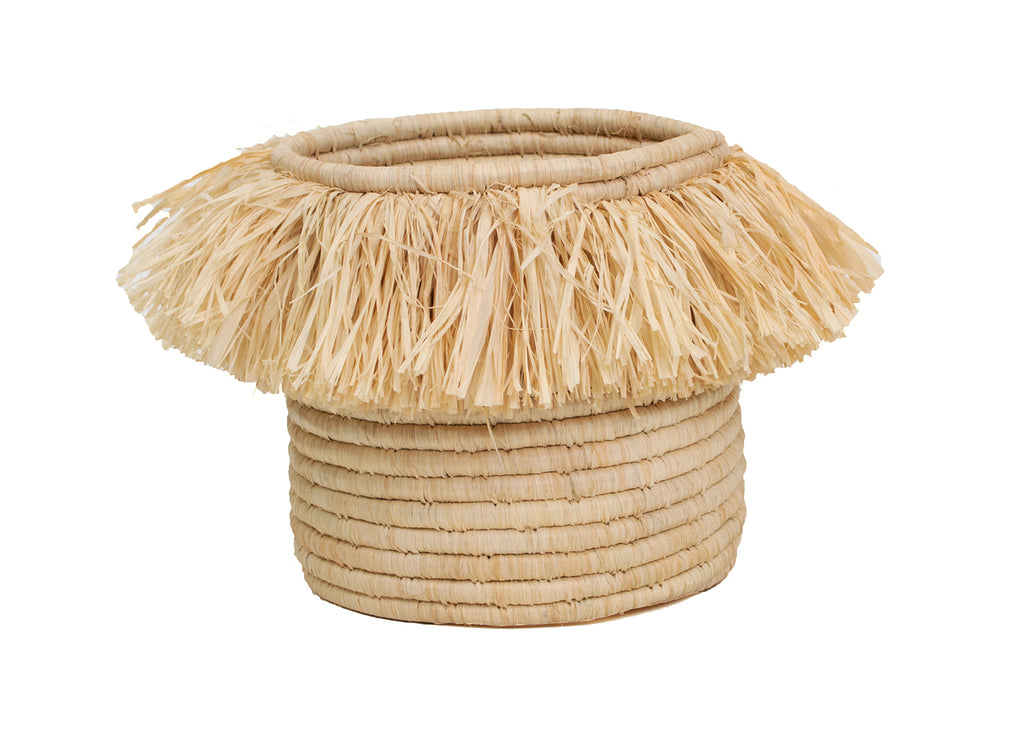Natural Fringed Catch All Basket - Dashing Trappings
