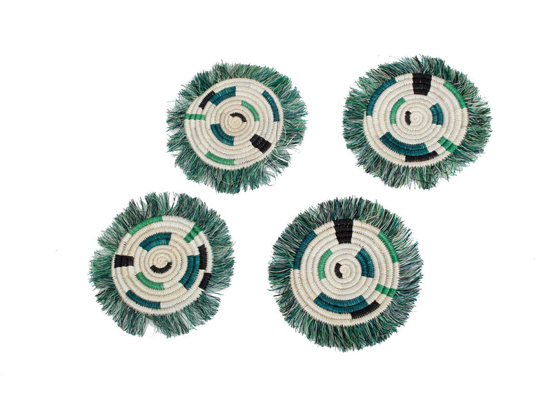 Pastel Green Geo Fringed Coasters