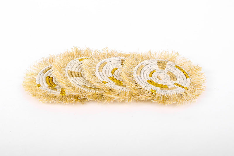 Gold Metallic Geo Fringed Coasters