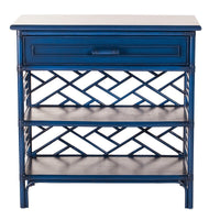Chinese Chippendale End Table, Indigo, White, Seaside, Dashing Trappings