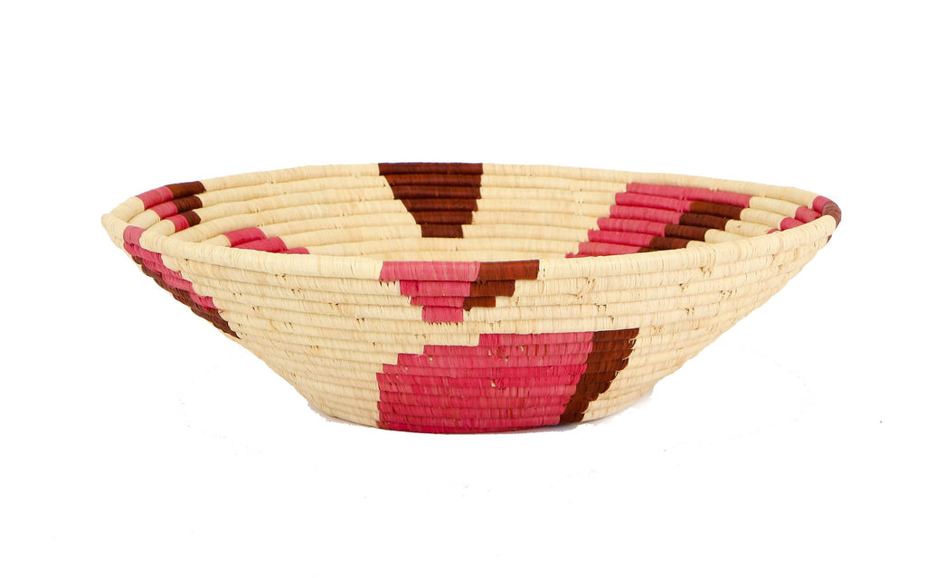 "16"" Jumbo Pink Spotted Round Basket"