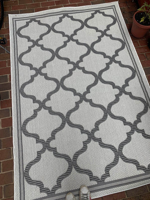 Grey and Ivory Outdoor Rug