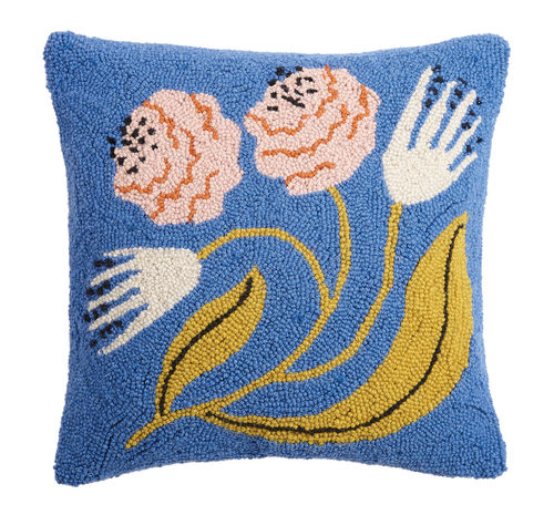 Organic Flowers Blue Hook Pillow - Dashing Trappings