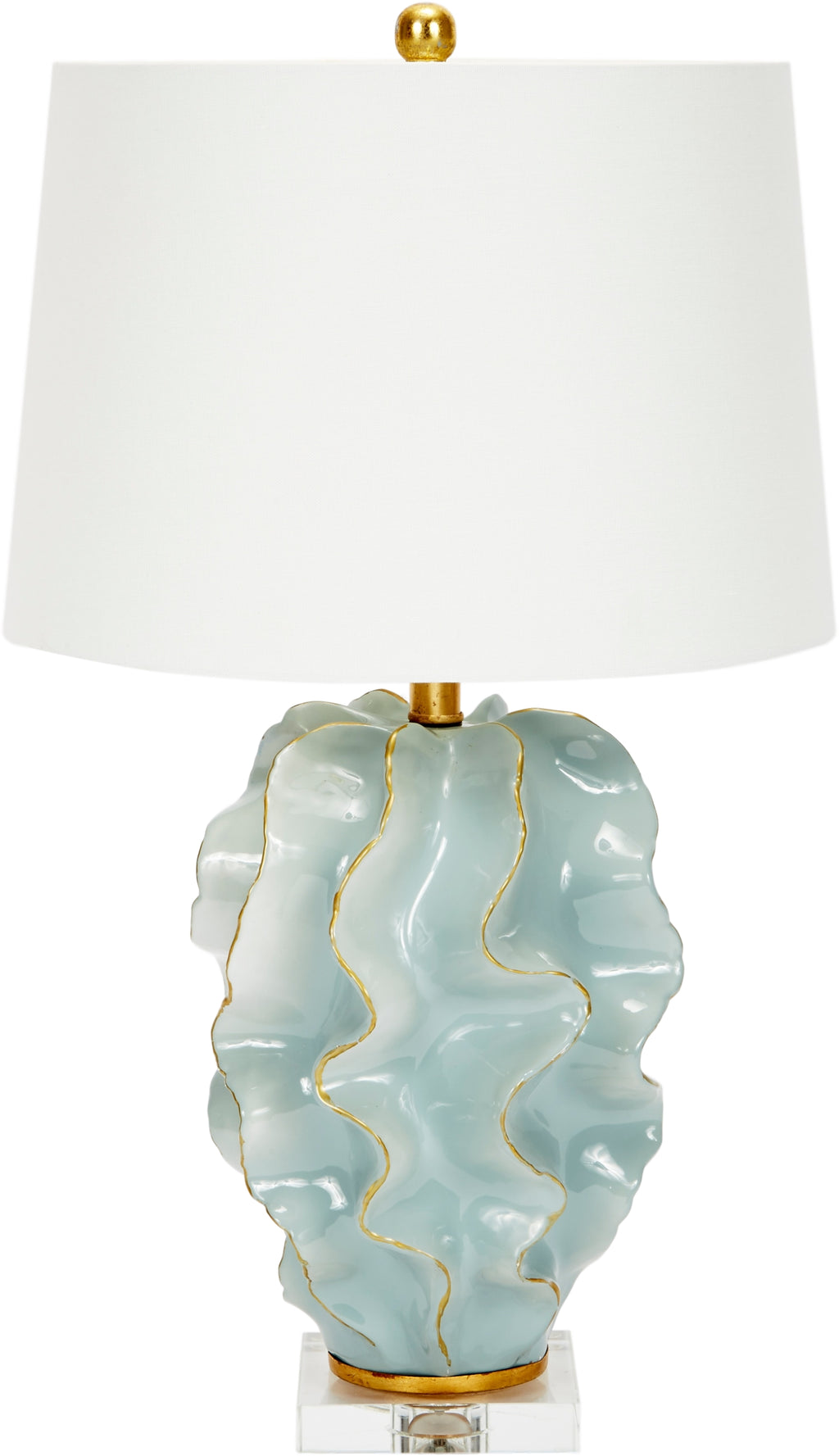 Hannah Ceramic Wave Lamp, Blue, Old World Design, Dashing Trappings