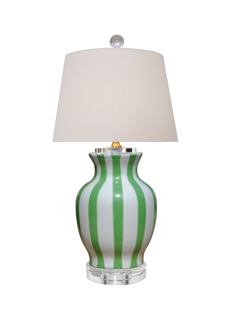 GREEN STRIPS PORCELAIN VASE LAMP, East Enterprise, Dashing Trappings